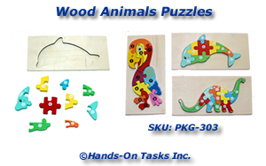 Wood Animal Puzzle Packaging Activity