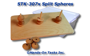 Stacking activity using spherical wood shapes